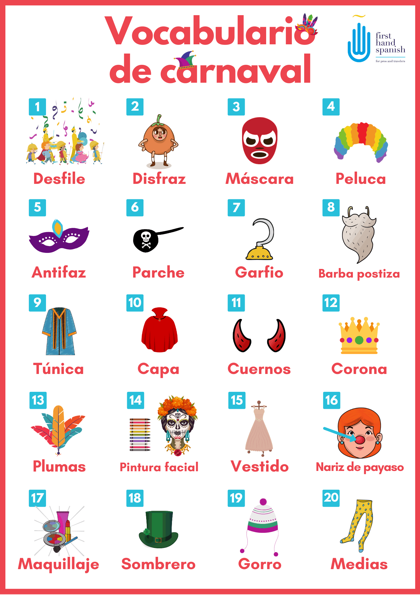 Vocabulario de los disfraces